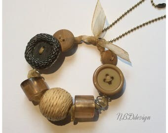 Necklace collected long shades of Brown and beige Ribbon, buttons, beads