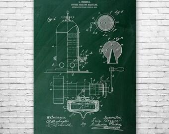 Bezzera Espresso Machine Poster Patent Art Print Gift, Espresso Poster, Espresso Art, Coffee Wall Art, Espresso Maker, Espresso Patent