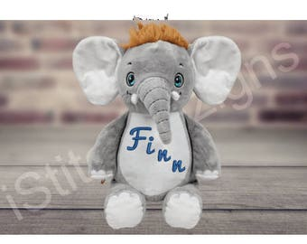 Gray Elephant, Personalized stuffed animal, Birth announcement, Stuffed animal, Embroidered animal, Birth announcement Baby shower gift.