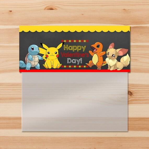 Pokemon Valentine's Day Treat Bag Topper - Red Chalkboard - Red Pokemon Pikachu Candy Bag Topper - Pokemon Party - Pokemon Ziptop Topper