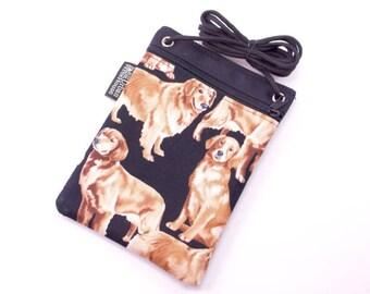 Cross body bag. golden retriever dogs. Dog walking phone pouch. Crossbody small purse.