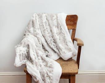 Gray White Throw Blanket, Gray, Throw Blanket, Snow Leopard, Grey Blanket, Gray Blanket, White Blanket, White Throw Blanket, Throw, Bedroom