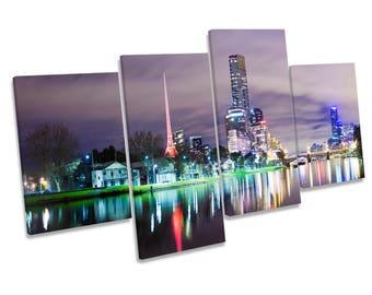 Melbourne City Australia Night CANVAS WALL ART Multi Box Framed Picture Print
