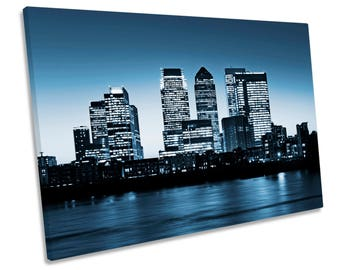 London Canary Wharf Blue City CANVAS WALL ART Framed Print