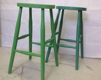 Vintage stools, upcycled furniture, seating,Antibes, emerald, green, dark wax, Upcycled