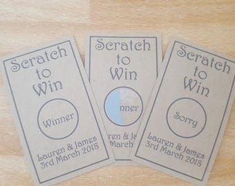 Personalised Brown wedding scratch card favours x 20