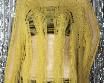 Vintage 90's Yellow Fish Net Sweater *Mint Condition (One Size)