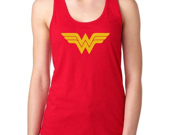 Wonder Woman Next Level Ideal Racerback Tanks in Yellow and Glitter Logos