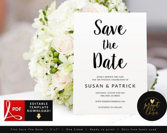 PDF Save The Date Card, Wedding Save The Date Template Printable, Save The Date Card Template, Elegant Save The Date PDF (Susan)