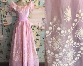 Vintage 1940s 1950s Pink Floral Flocked Gown. Small/Medium. acetate, taffeta, formal, party dress.
