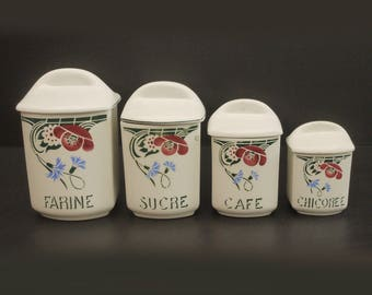 """french Ceramic Kitchen Storage Canister Set of 4 Circa 1920-30's """"St Amand Dinoise, Floral Art Deco Chic Carnation Decor pottery Cottage"""""""