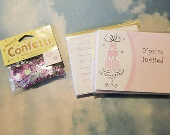 Bridal shower invites and confetti