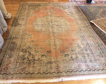 Turkish rug vintage 6.6 x 9.5 old antique look