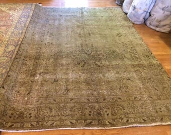 Persian rug antique very nice hand knotted wool  6.8 x 10.0
