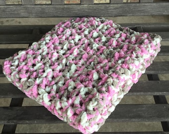Handmade crochet baby blanket/afghan girl pink/taupe/white very soft and thick