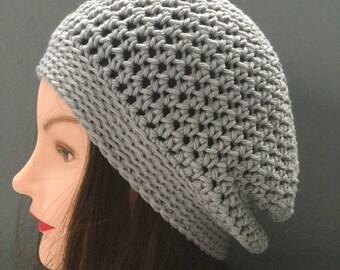 Summer cotton crochet slouchy beanie hat light gray