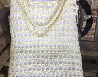 Vintage style cotton crochet boho beach or market tote bag ivory cream
