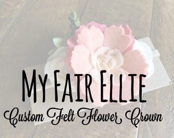 Custom Felt Flower Crown - Felt Flower Nylon Headband - Pink Roses  Flower Headband - Dainty FlowerHeadband - Pink Flower Headband