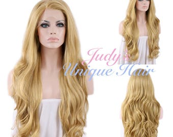 Long Curly Blonde Lace Front Synthetic Hair Wig