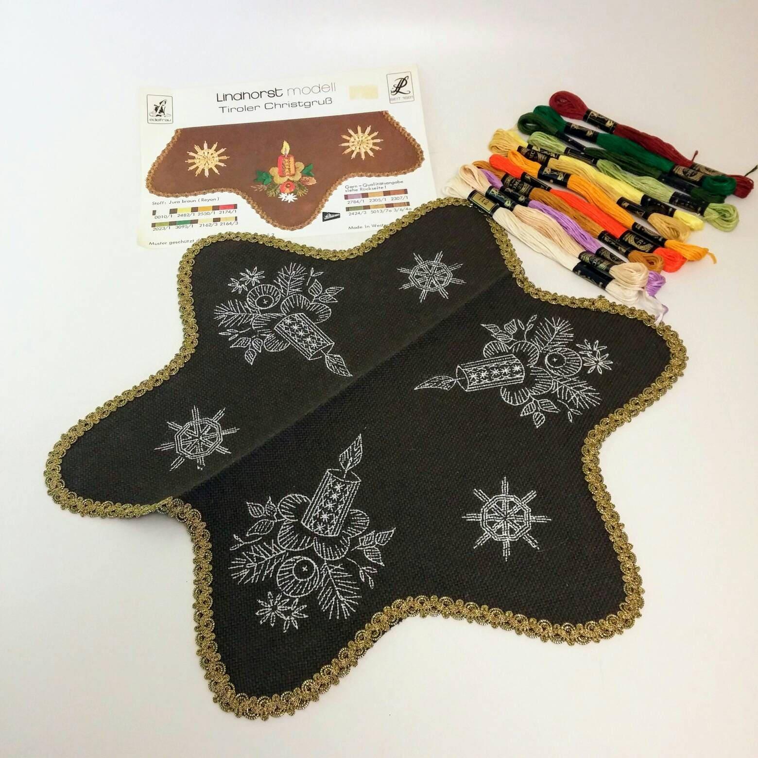 Christmas vintage embroidery table linen kit