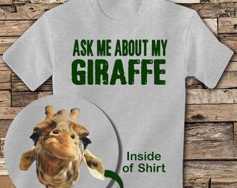 Ask me about My Giraffe T shirt Giraffe Tee shirt KIDS T shirt Funny Giraffe t shirt zoo shirt Giraffe shirt