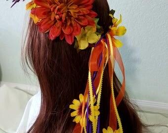 Flower Crown, Oktoberfest Flower Crown Hair Wreath, Orange and Yellow Flowers, Autumn Decoration, Renaissance Fair Musical Festival Headband