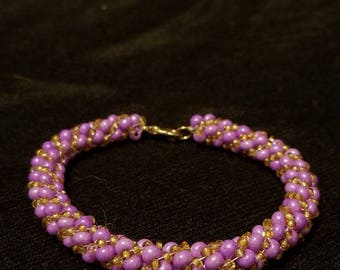 Purple and Gold Russian Spiral Bracelet