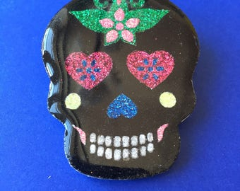 Glazed Mexican skull brooch