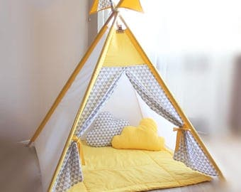 Play teepee Kids yellow Play tent gray triangles Kid Teepee Playhouse Nursery decor Baby gift Childrens & Teepee Kids teepee tent gray stars Childrens teepee Baby