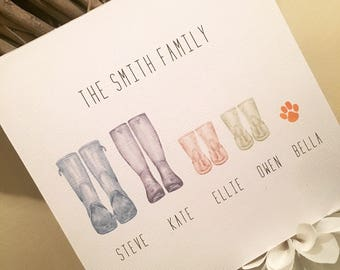 Family Wellingtons wooden plaque - Original - Family Print - Christmas Gift