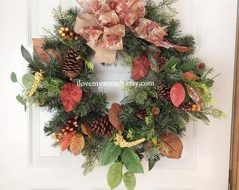 fall Wreaths, fall Wreaths for front door, rustic farmhouse wreaths, front door wreaths, fall greenery wreaths, holiday wreaths, front door