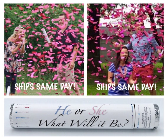 "24"" CONFETTI CANNON Gender Reveal Confetti Cannon Smoke Bomb Alternative"