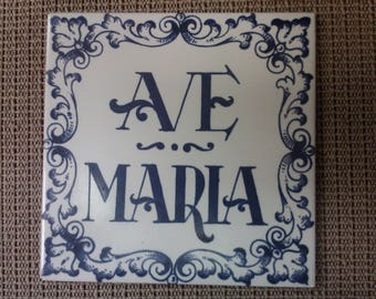 AVE MARIA tile/trivet (blue) made in Spain in mid-1900s