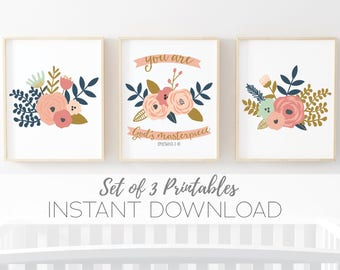 Floral Nursery Printable set of 3 digital art prints - non-personalized  - instant download set of 3 8x10 digital art prints girls wall art