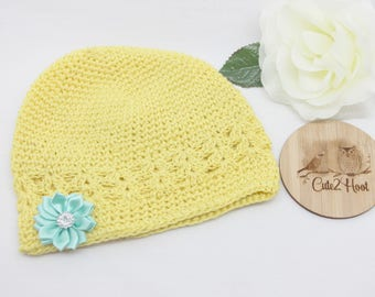 Crochet Kufi Hat, Yellow, Flower, Baby Hat, Toddler Hat, Toddler Beanie, Winter Hat, Size up to 3mths