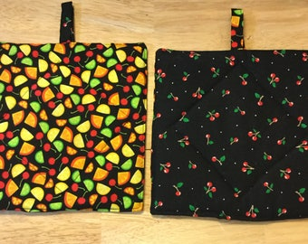 Citrus Fruit and Cherry pot holders, oven mit, kitchen, hot pads, trivet, Set of 2 quilted reversible pot holders.