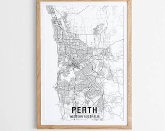 Perth Map Print - Black & White / Map / Australia / City Print / Australian Maps / Giclee Print / Poster