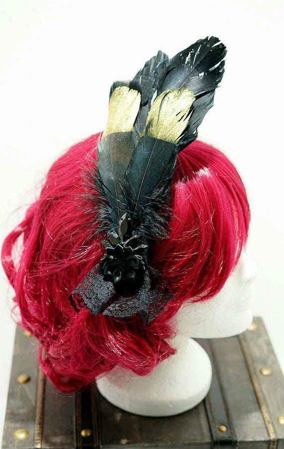 Crystal Black & gold feather bow hair pin / Black Gold feather hair clip