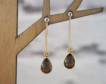 Smoky Quartz Earrings, Gemstone Earrings, Gold Earrings,  Gift Earrings, Long Earrings, Smoky Quartz Jewelry, Gemstone Jewelry
