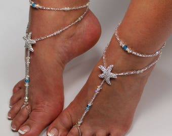 Starfish Foot Jewelry Sandal Anklet Set Crystal Wedding Foot Jewelry Starfish Soleless Shoes Crystal Bridal Barefoot Bridesmaid Gift Beach