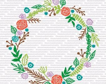 floral wreath design svg file, for monogram, rose, leaves, vector, silhouette, cutting file, flowers, design, decal, flourishes, laurel