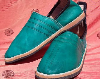 Teal Handmade Moroccan Leather Babouche Slipper Shoe