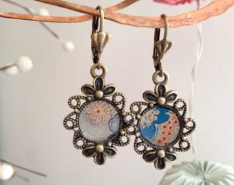 Orange and blue Japanese paper earrings.
