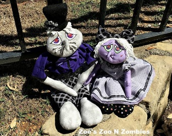 Handmade Raggedy Goblin Set of Two Cloth Dolls Halloween Fall CFCOFG Art Dolls Ghoul
