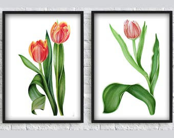 Watercolor tulip wall art  print tulip flower print red tulip print flower wall art decor flower SET of 2 print poster red green gift idea