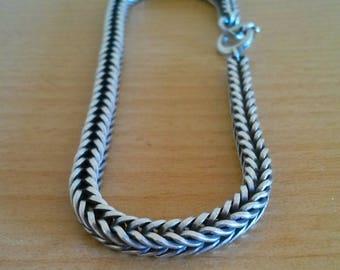 Vintage snake silver bracelet . Mens vintage bracelet . Unique  silver snake skin bracelet . Bracelet en argent antique . Bracelet homme