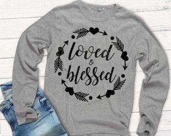 Loved and Blessed svg, shirt svg, Valentine svg, tribal frame svg, SVG, DXF, EPS, Loved, Blessed svg, blessed, boho circle frame svg, spirit