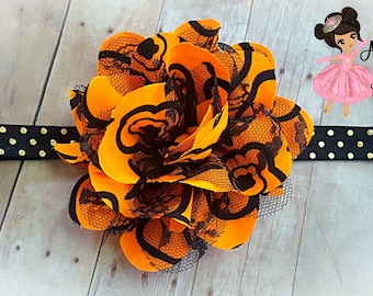 Halloween Headband Orange Headband Black Headband Toddler Headband Baby Girl Headband Newborn Headband Single Flower Headband