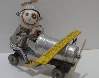 Fly Boy Upcycled Altered Art Robot Character
