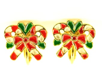 Vintage Clip On Christmas Earrings Small, Estate Jewelry, Red Green White Enamel Candy Cane Earrings, Mid Century Modern Christmas Jewellery